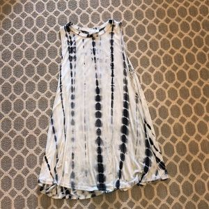 Loose navy and white tie dye dress